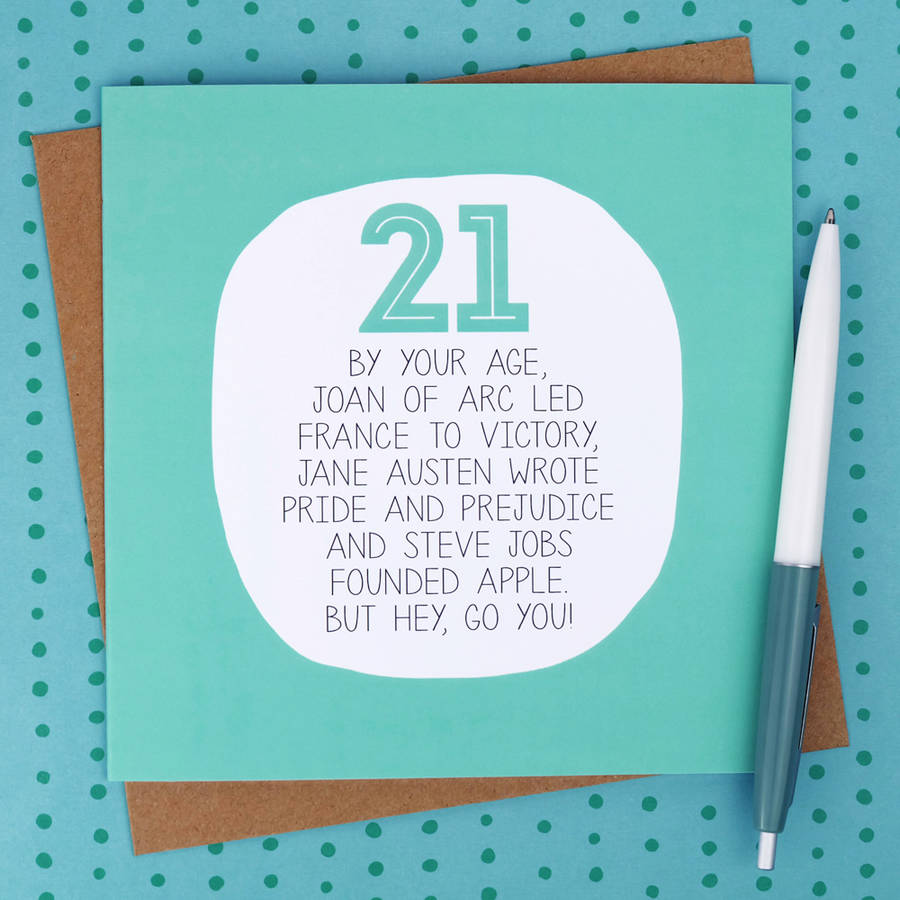 By Your Age Funny 21st Birthday Card By Paper Plane