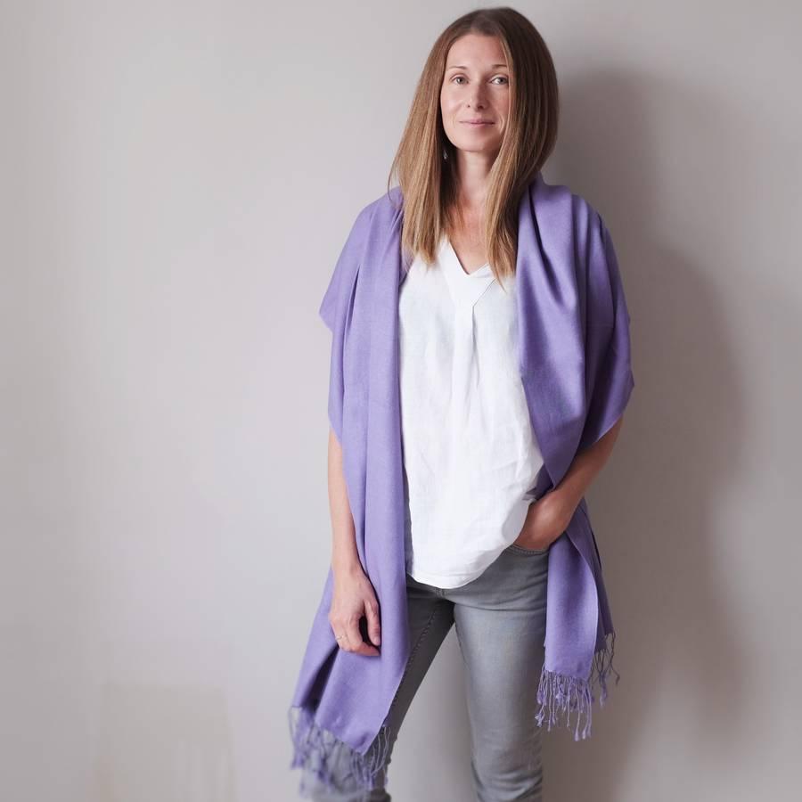 bespoke cashmere silk pashmina shawl by plum & ivory