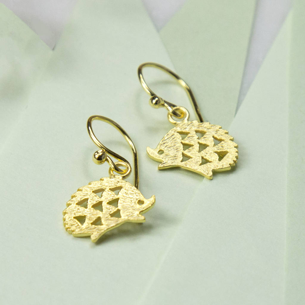 gold plated sterling silver hedgehog earrings by martha