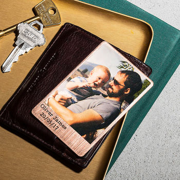 Personalised Solid Copper Wallet Photo Card