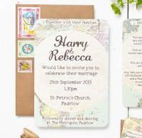 travel inspired map wedding invitation set by peardrop ...