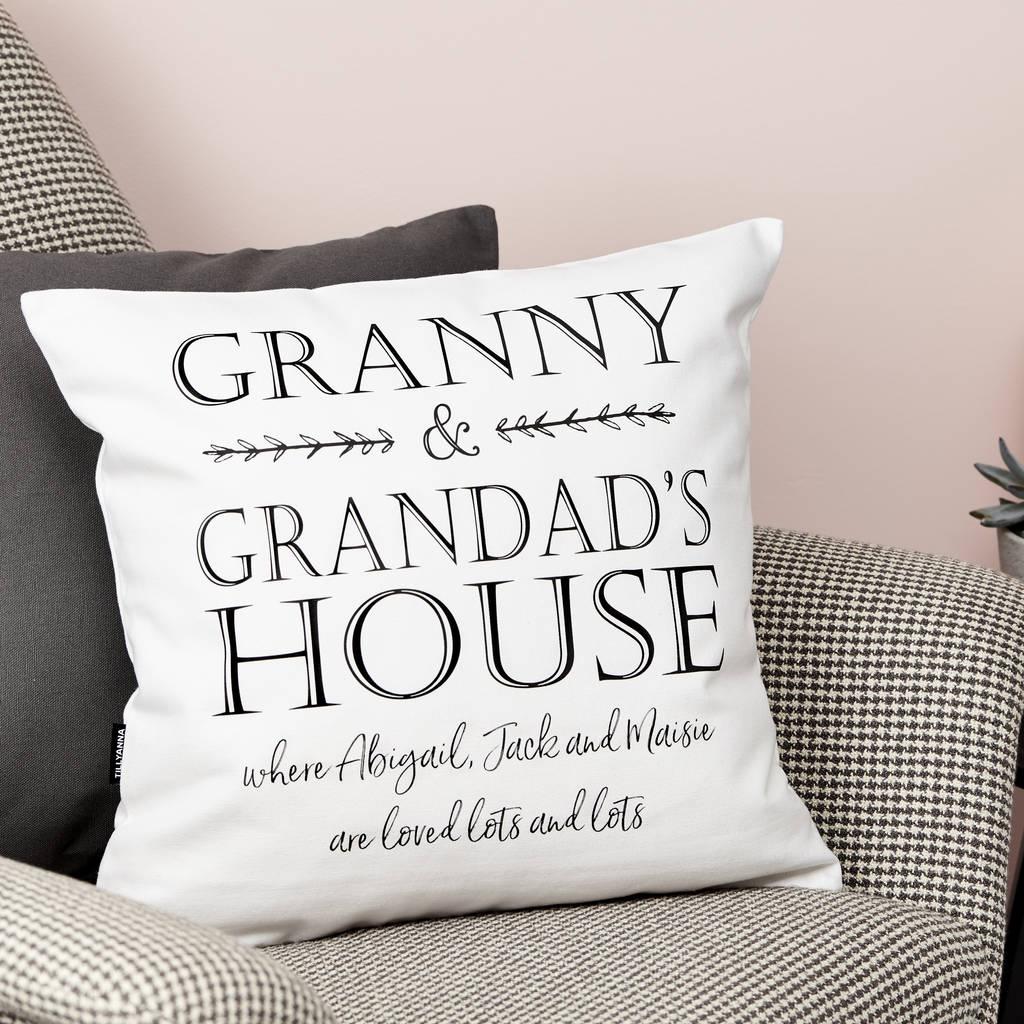 personalised grandparents house cushion by tillyanna