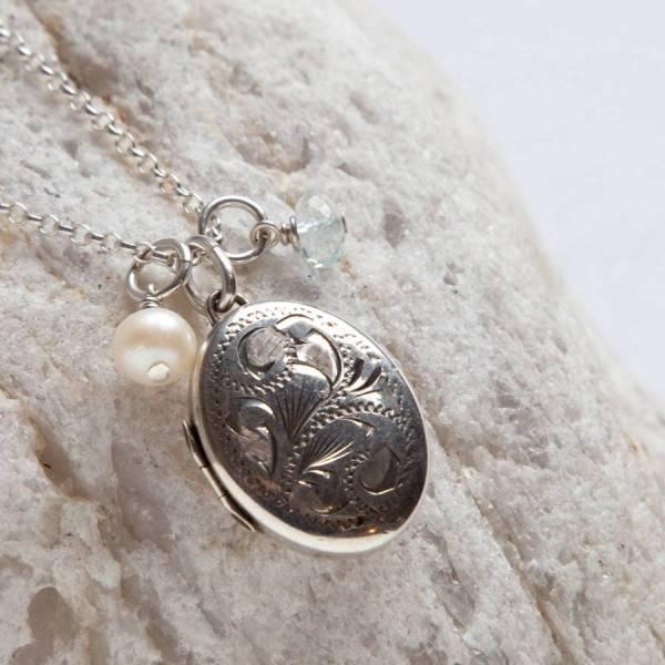 Vintage Silver Locket Necklace Lime Tree Design