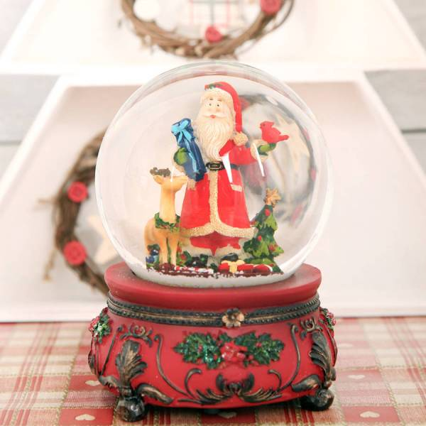 Traditional Musical Santa Christmas Snow Globe Dome Red