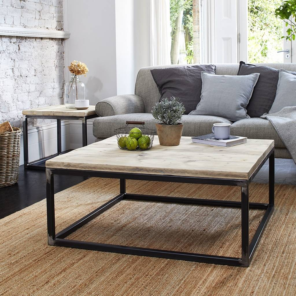 reclaimed wood coffee table with raw steel box frame
