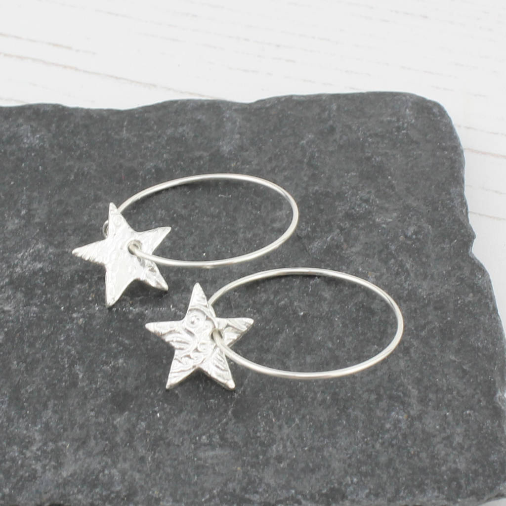 sterling silver star hoop earrings by lucy kemp silver