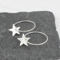 sterling silver star hoop earrings by lucy kemp silver ...