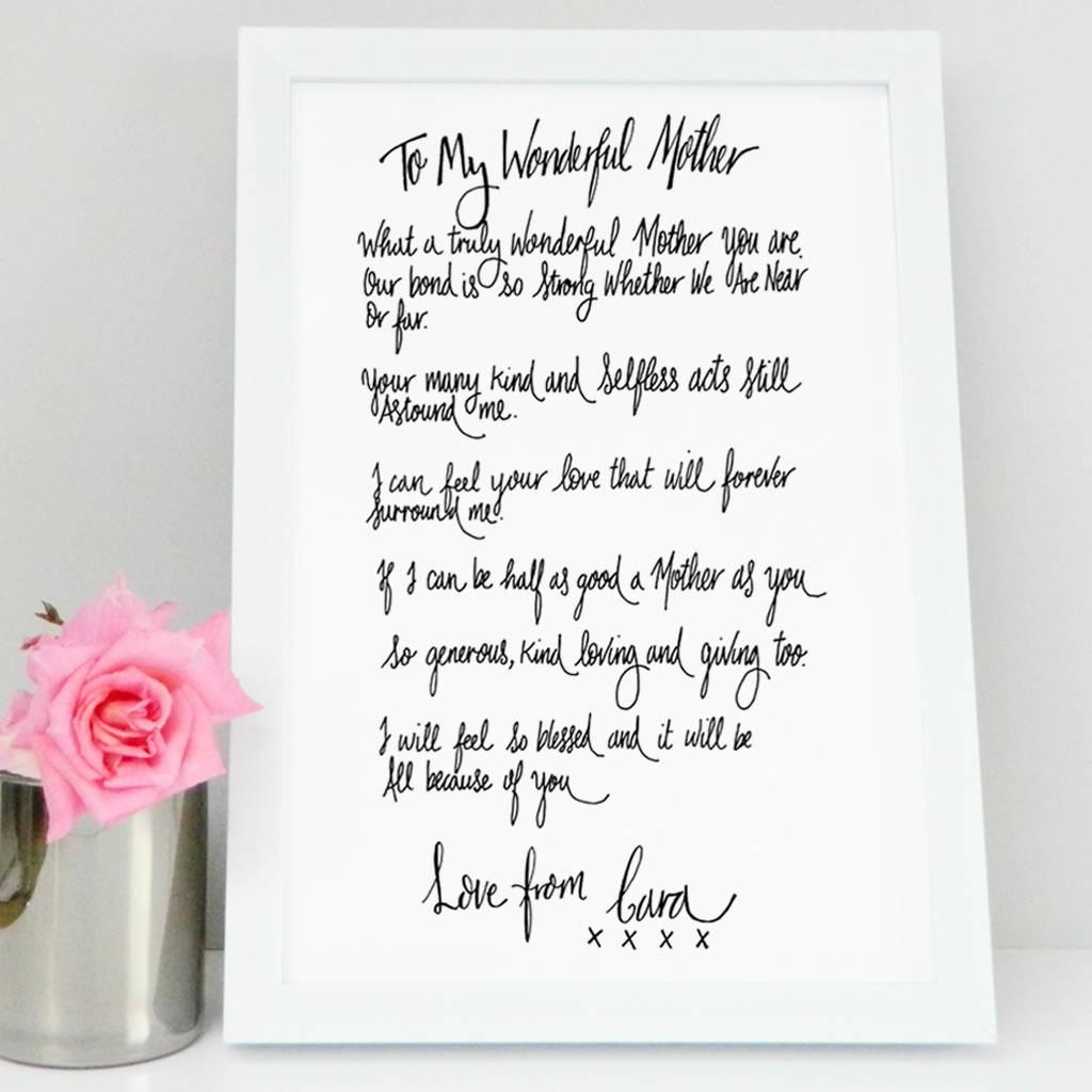 Mum Poem T Print By De Fraine Design London