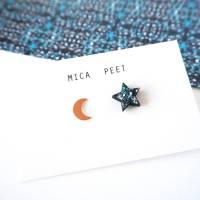 moon and star stud earrings by mica peet ...