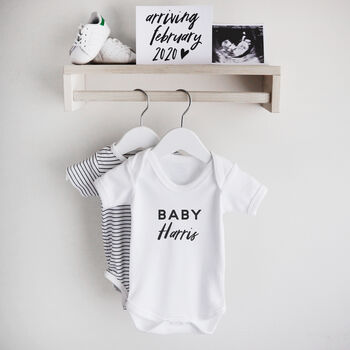 personalised baby announcement bodysuit