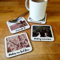 personalised polaroid style drinks coasters by ...