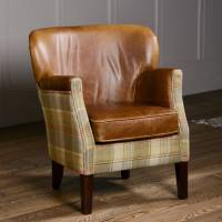 curved back armchair vintage leather or tweed by the ...
