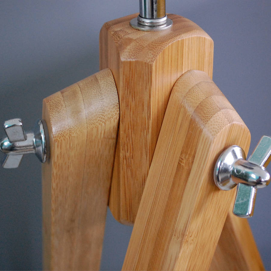 bamboo wood tripod floor lamp base by quirk