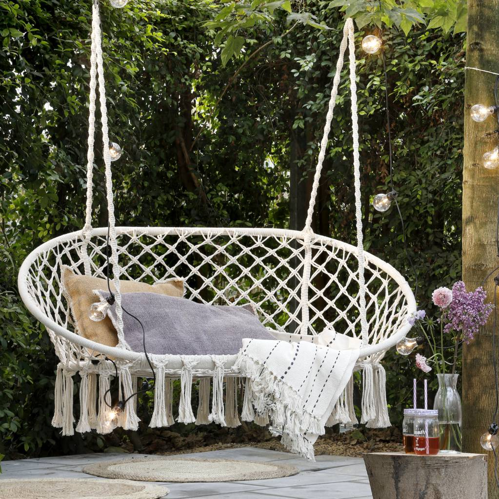 cream macrame double hanging garden seat by ella james