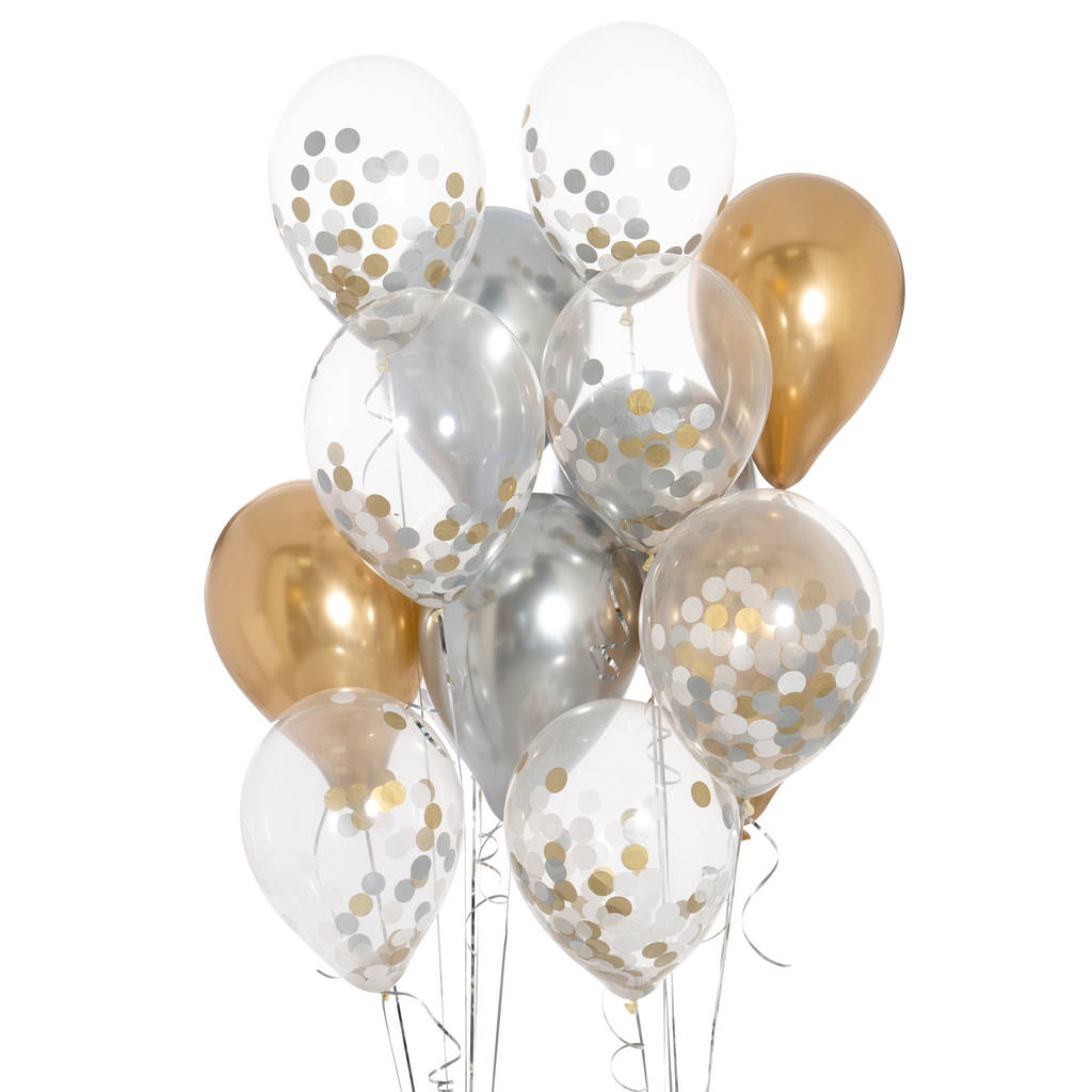 pack of 14 white silver and gold confetti balloons by