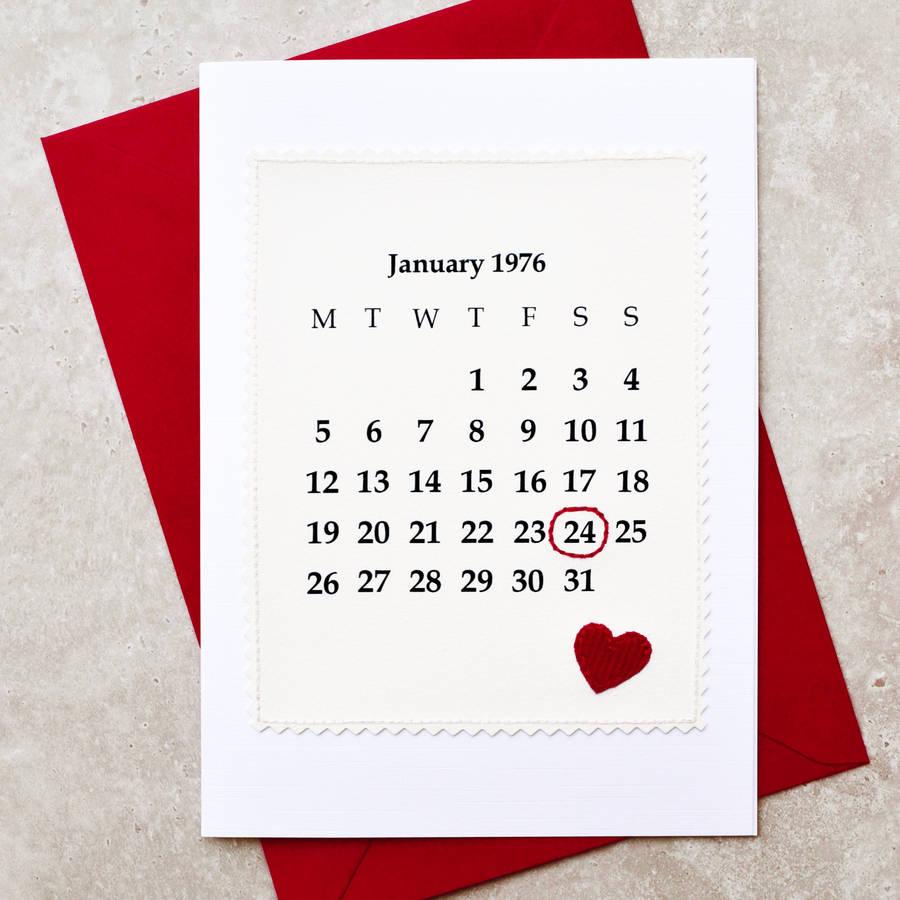 'calendar' 40th Wedding Anniversary Card By Jenny Arnott
