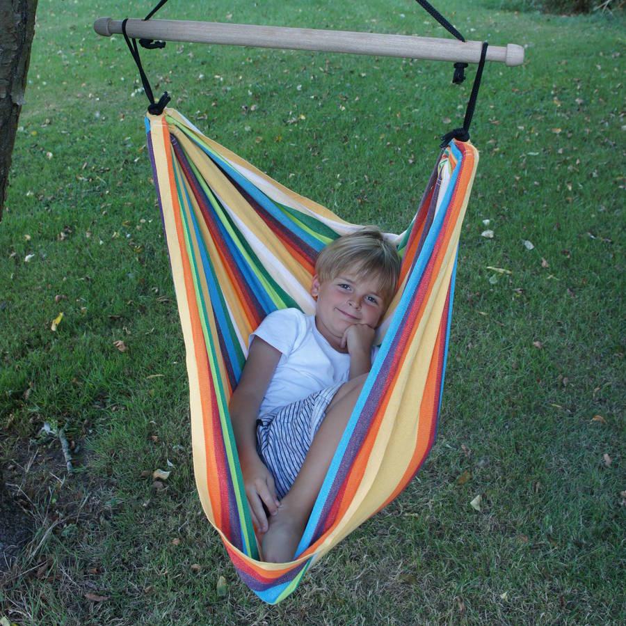 hanging chair notonthehighstreet outdoor swivel dining chairs playa rainbow childrens by emilyhannah ltd
