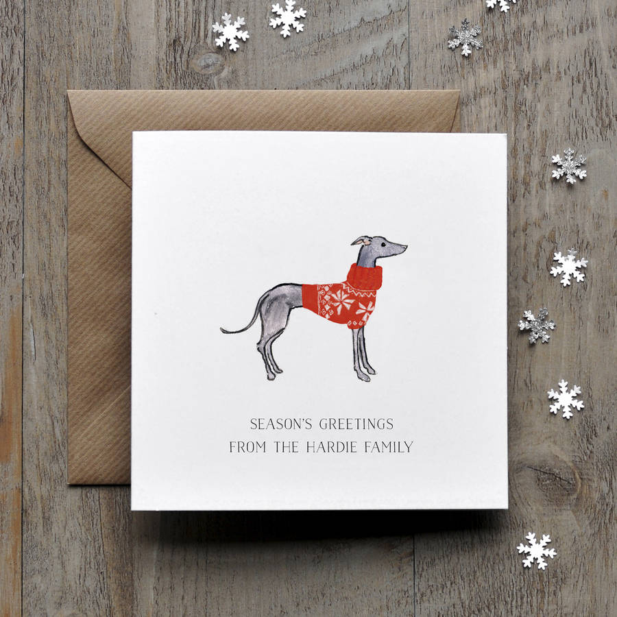 Greyhound Whippet Christmas Card By Honeytree Publishing