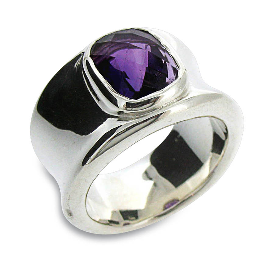 molten silver and amethyst ring by will bishop jewellery