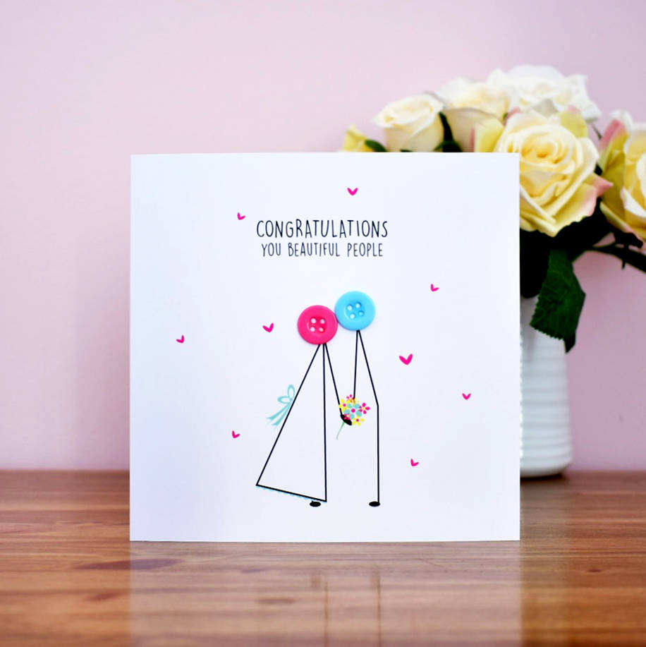 wedding congratulations button card