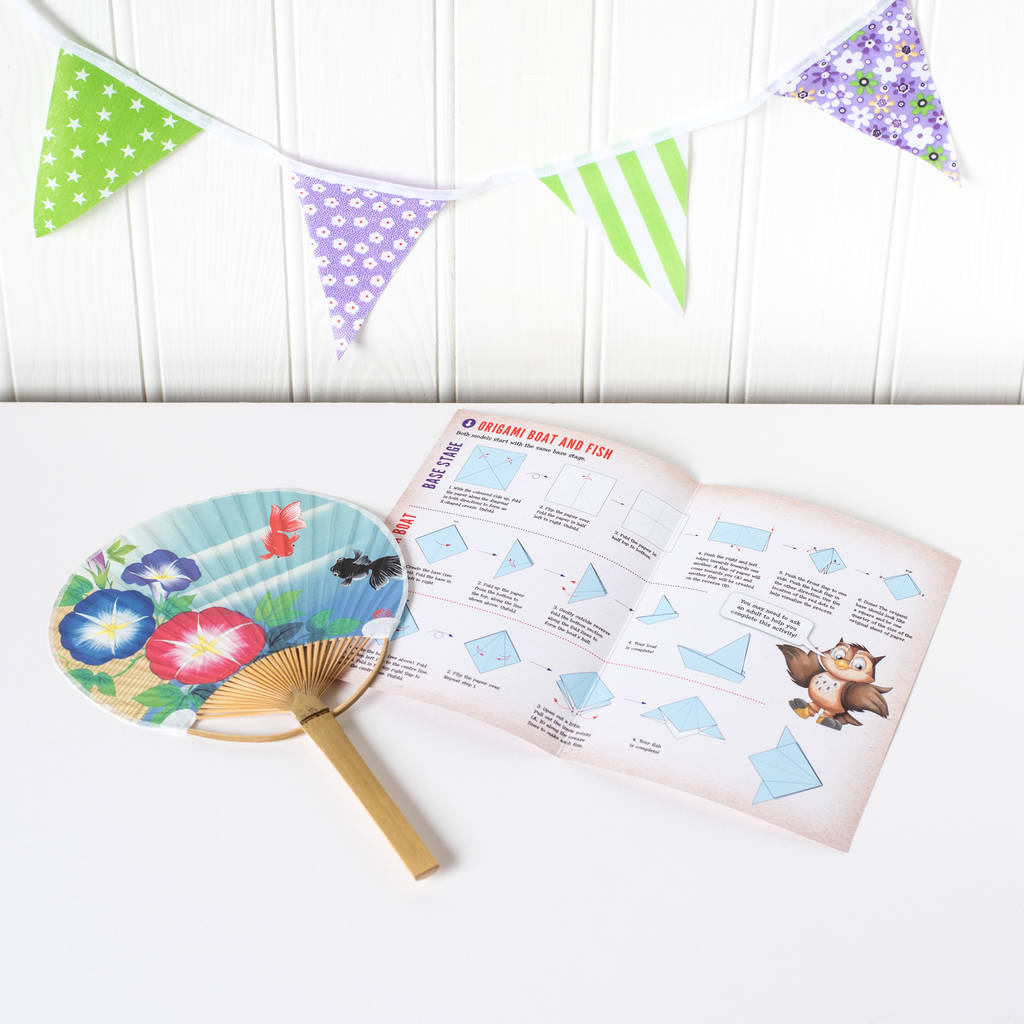 Japan Activity Set With Japanese Fan And Origami Paper By Geo Journey