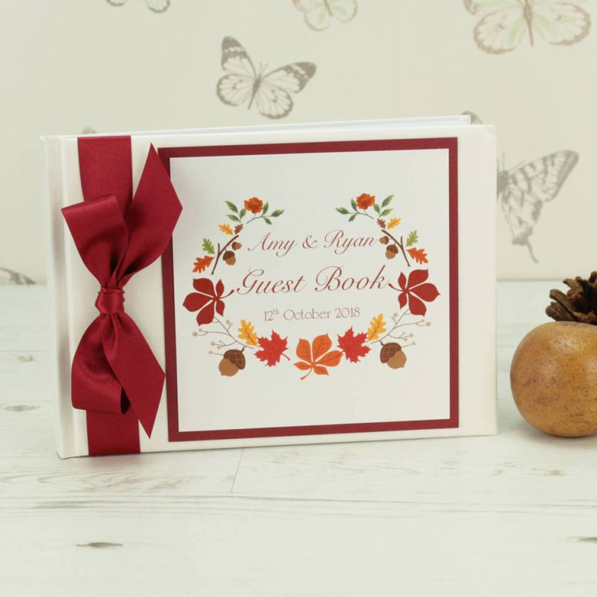 Personalised Autumn Wedding Guest Book