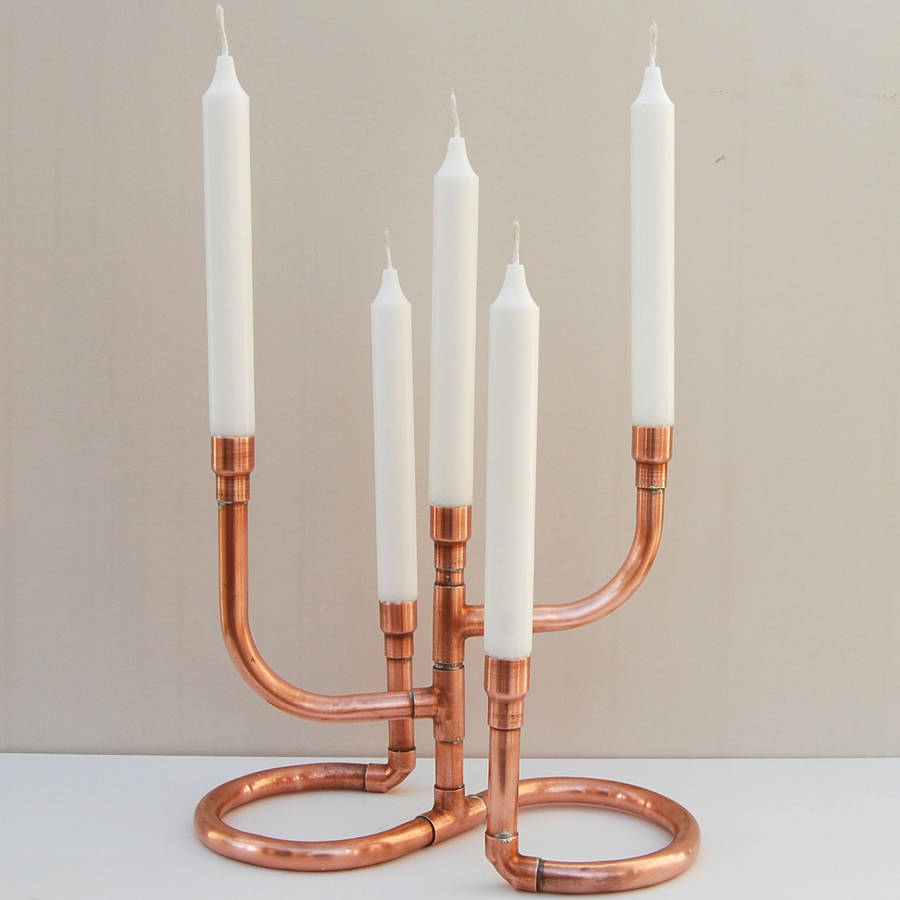 copper pipe candelabra by copper & hall
