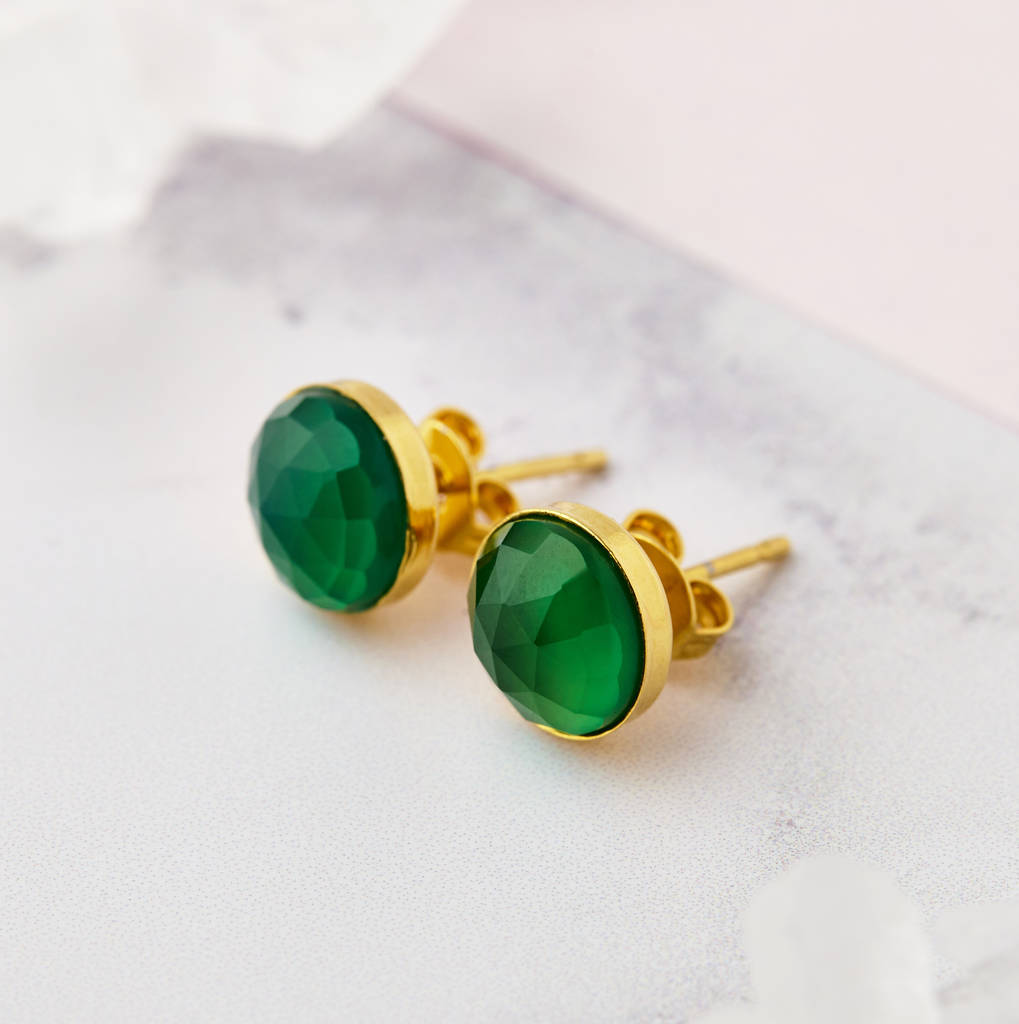 gold stud earrings with green onyx by misskukie