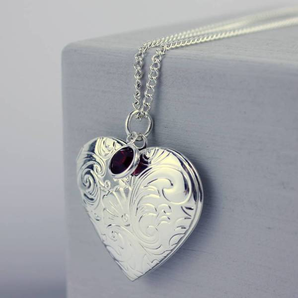 Oversized Heart Birthstone Locket Necklace Joy
