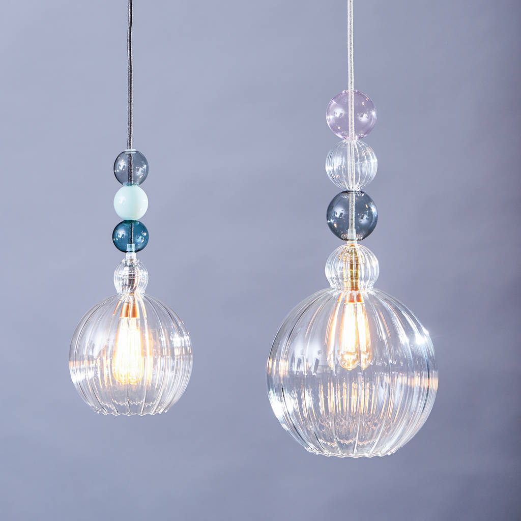Ribbed Glass Globe Queen Mabel Pendant Light By Glow Lighting Notonthehighstreet Com