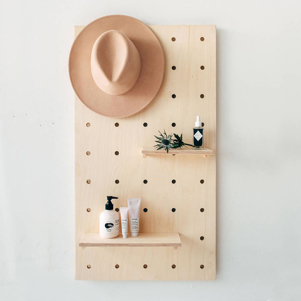 hanging kitchen light fixtures kitchens for rent display birch plywood pegboard shelving unit by ...