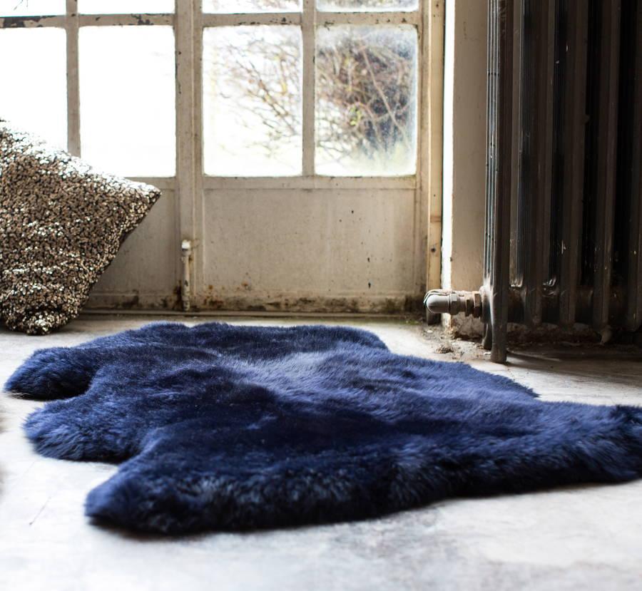 sheepskin rug on chair balance ball luxurious midnight blue by the forest & co | notonthehighstreet.com