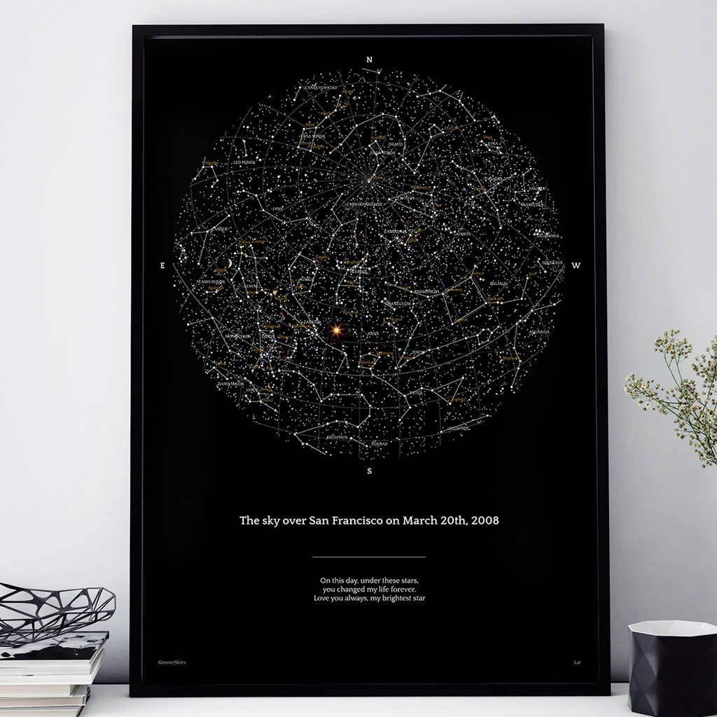 Personalised Night Sky Star Map Print 16x20 By Greater
