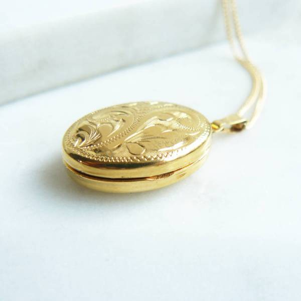 Personalised Engraved Gold Locket Necklace With Swallow