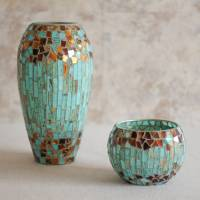 robin egg blue mosaic candle holder and vase by dibor