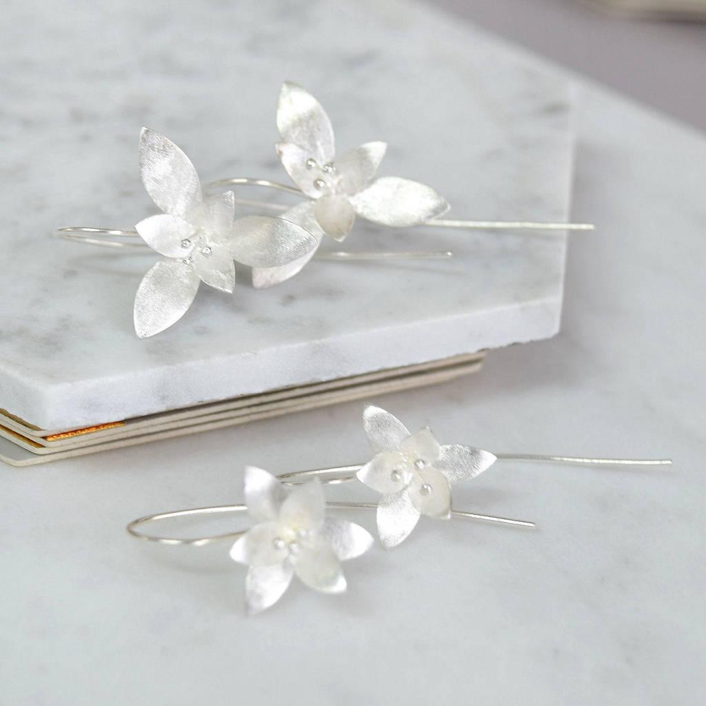 sterling silver flower earrings by mia belle