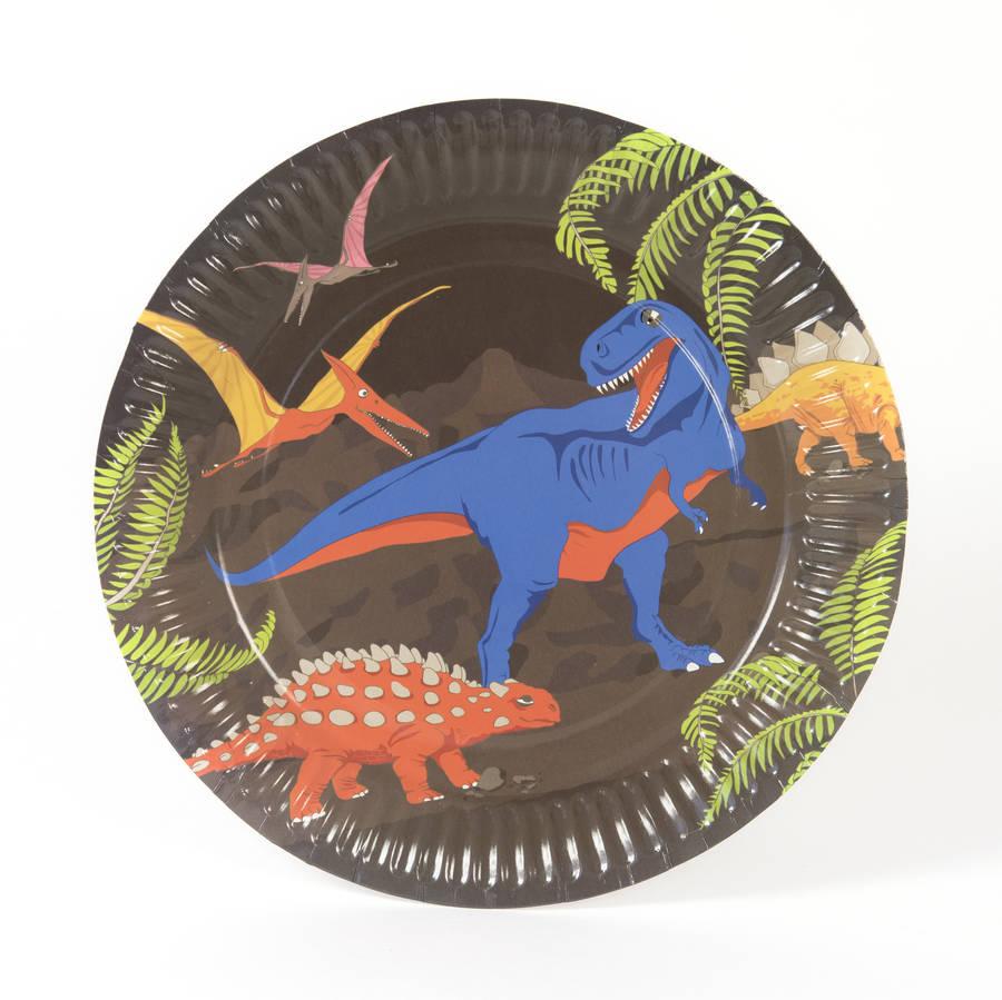 dinosaur party paper plates by marvellous cat