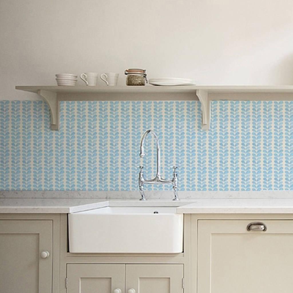 wallpaper for kitchen walls cabinets brands blue leaves backsplash by lime