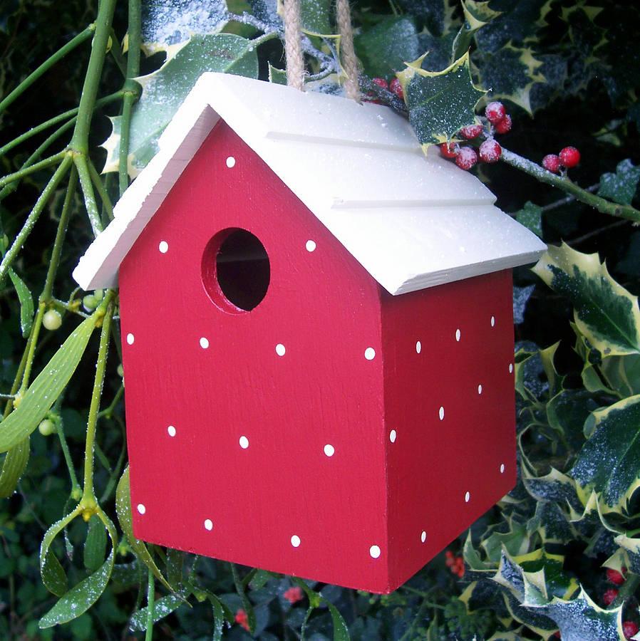 handmade hanging bird house by the painted broom company