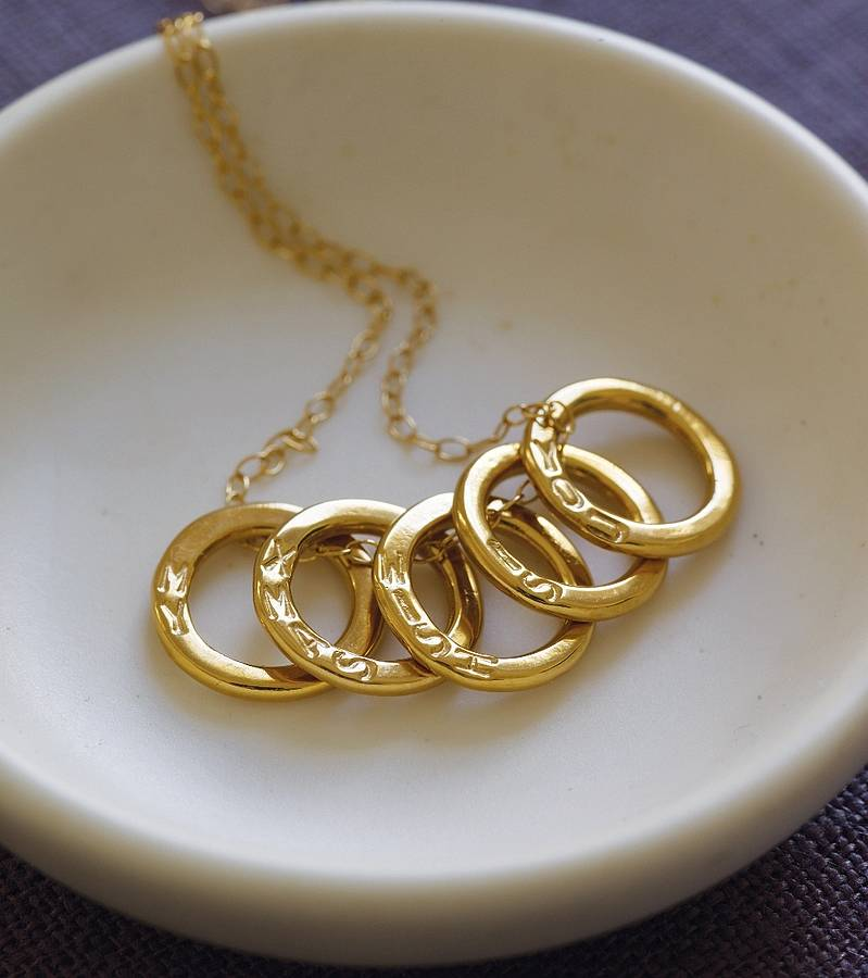 personalised five gold rings necklace by posh totty