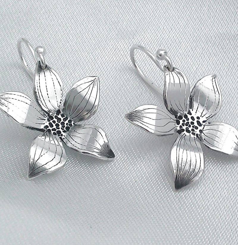 flower sterling silver drop earrings by dale virginia