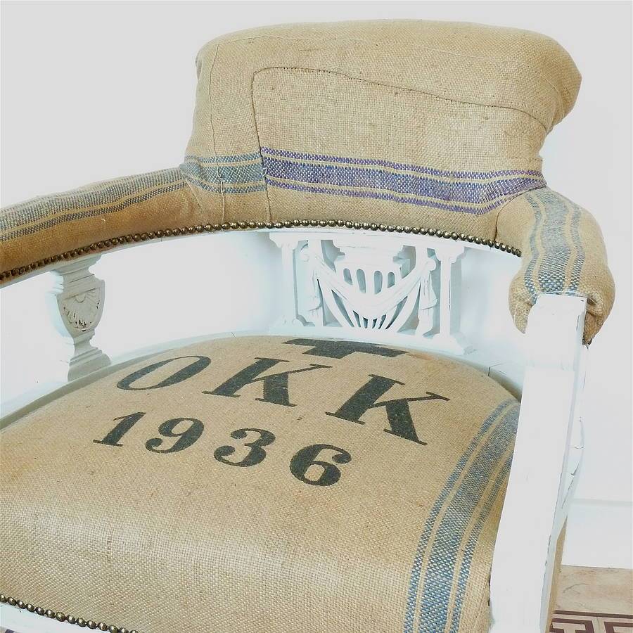Grain Sack Chair Vintage 1936 Victorian Grain Sack Chair