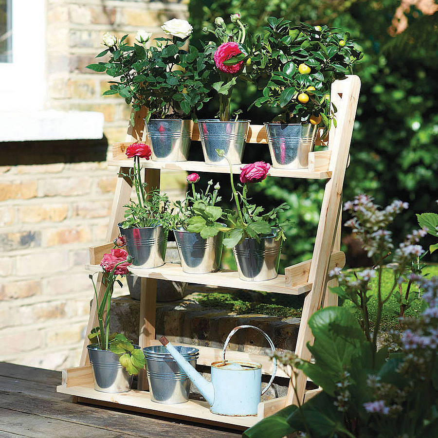 Three Tier Herb And Plant Theatre With Zinc Pot Set By