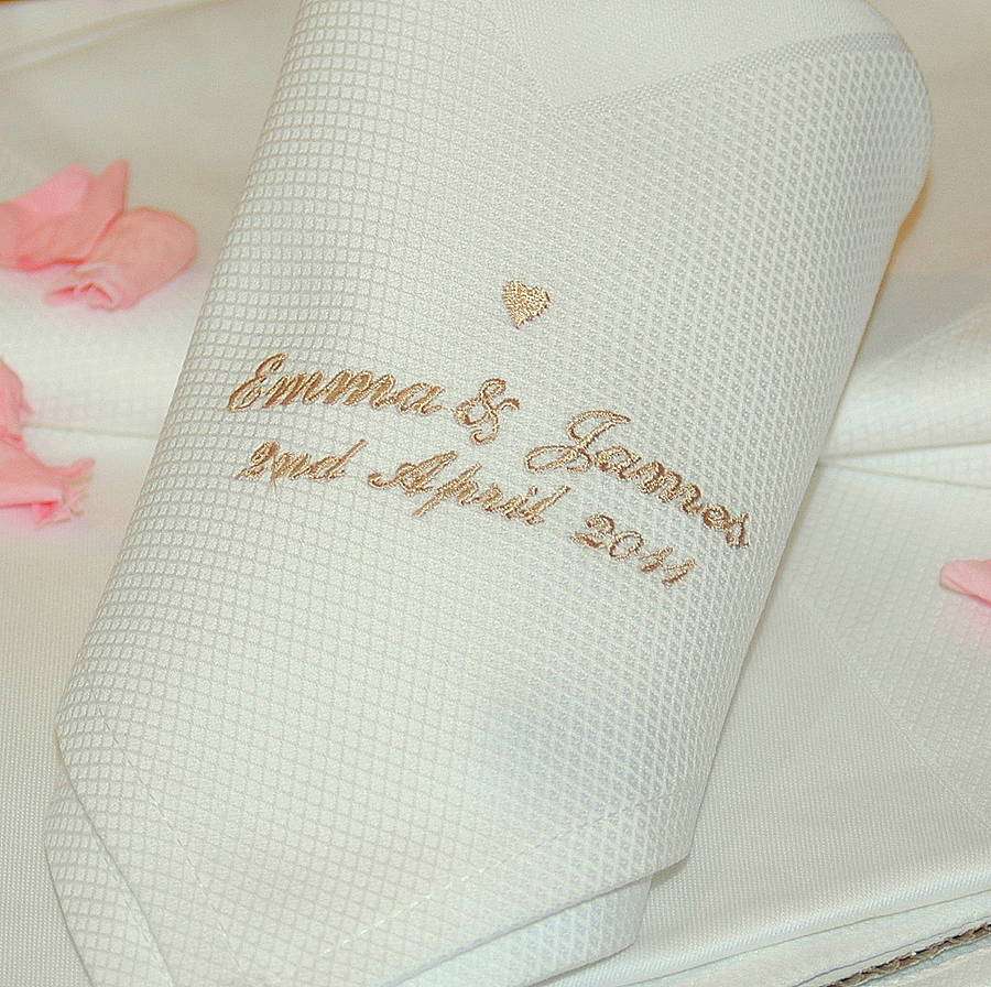 personalised wedding napkins by the alphabet gift shop