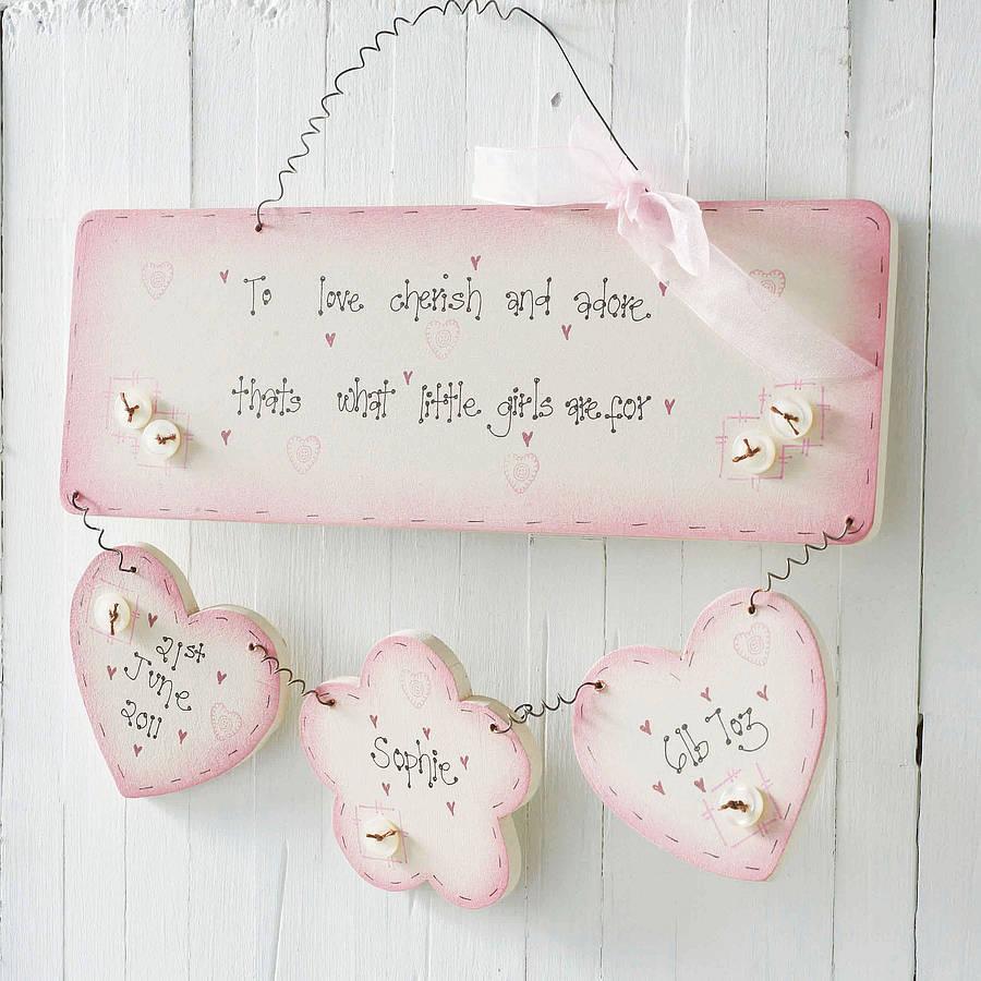 Personalised Handmade Baby Girl Birth Plaque Keepsake By