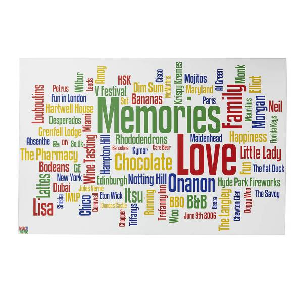 personalised family memories word art print by more than