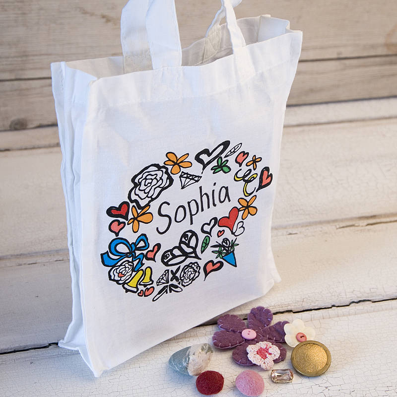girls personalised tote gift bag by solographic art