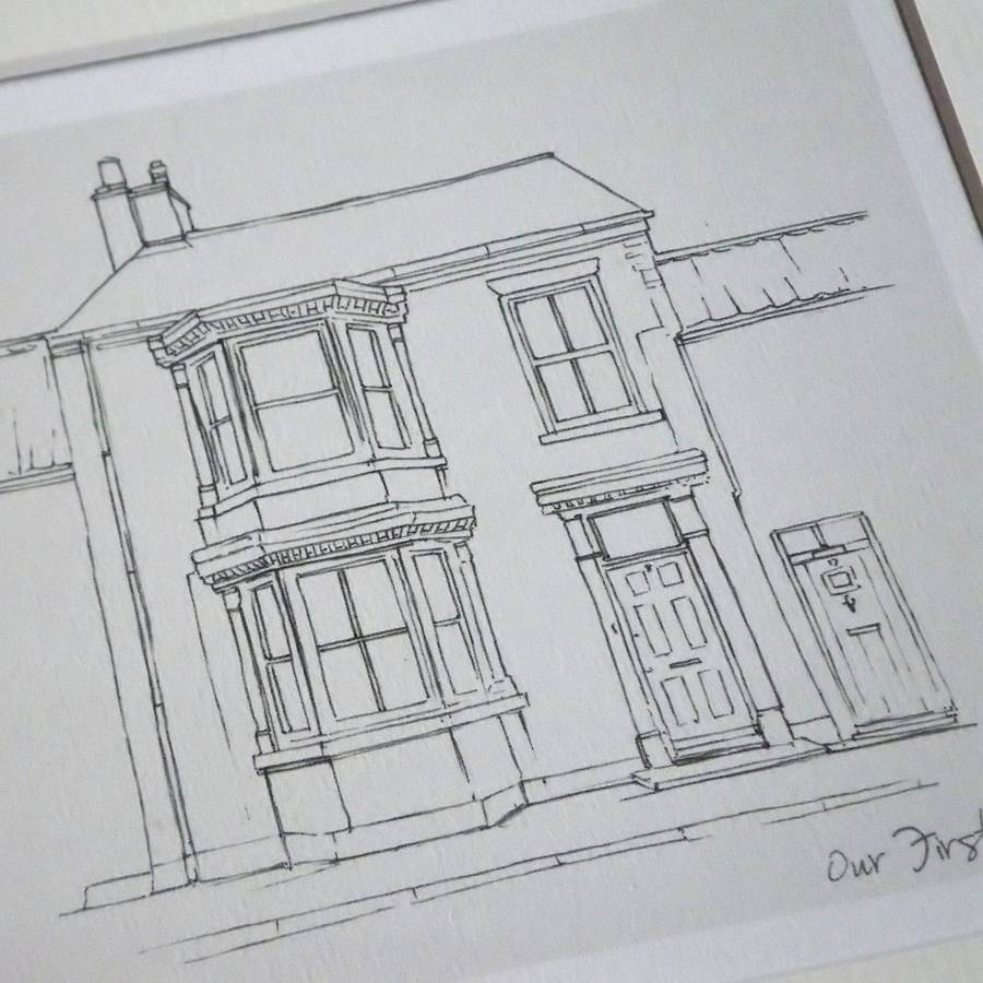 hight resolution of drawn line moving house present art print