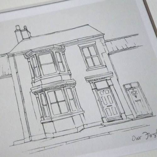 small resolution of drawn line moving house present art print