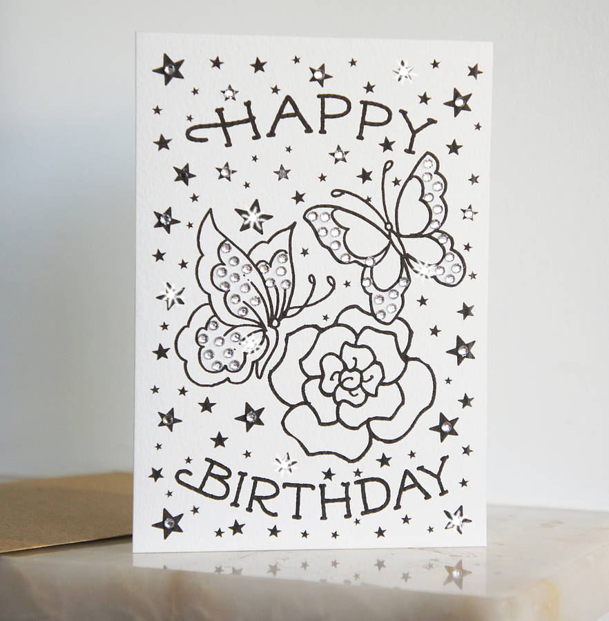 Butterfly Birthday Tattoo Card With Diamante By Spdesign